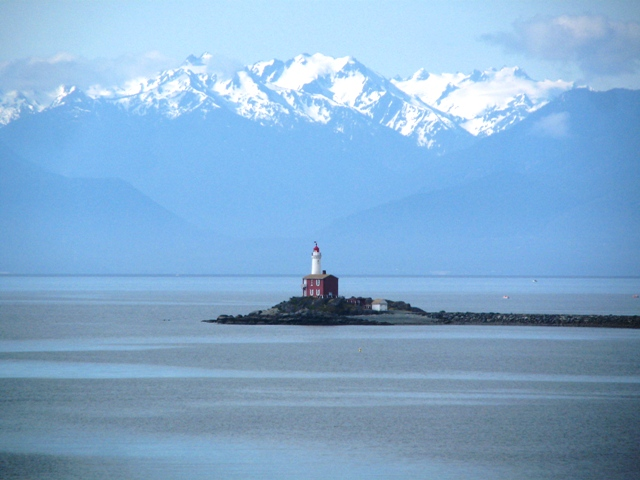 Fisgard Lighthouse with Olympic Mountains