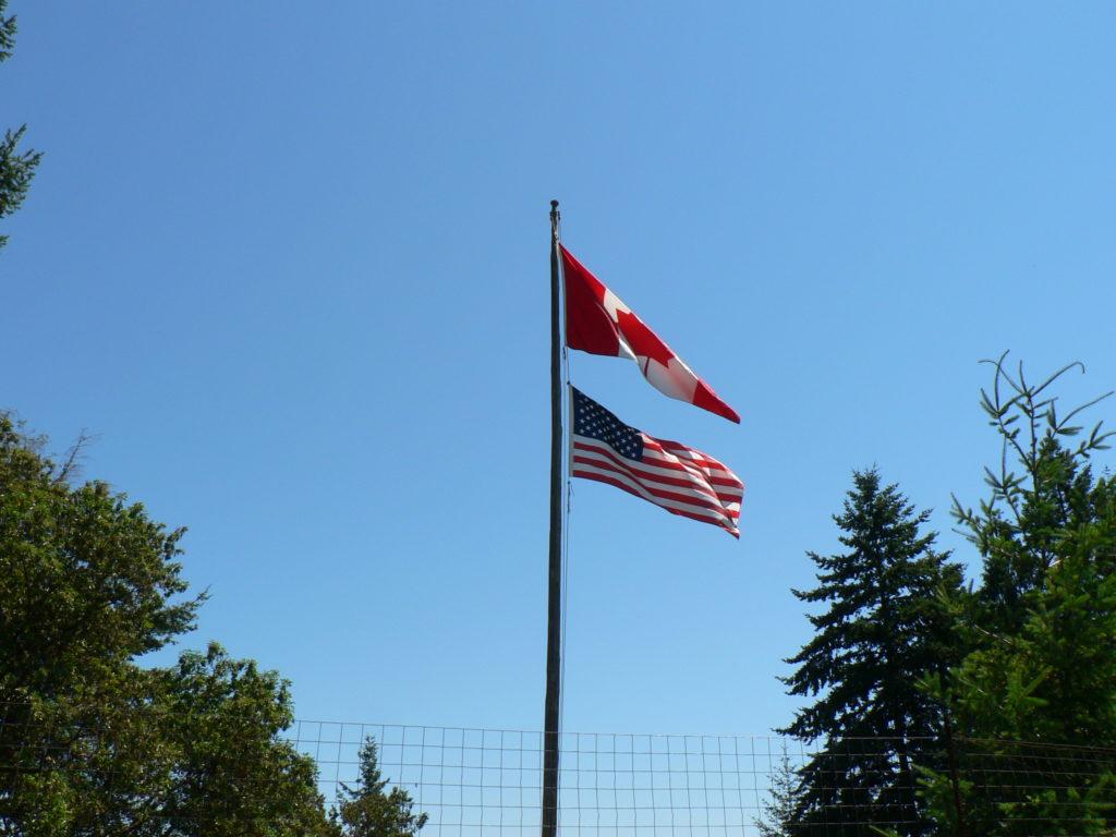 Canadian & USA Flags On Galiano Island