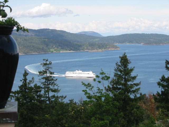 View of BC Ferry from Cloake Hill, No Saanich