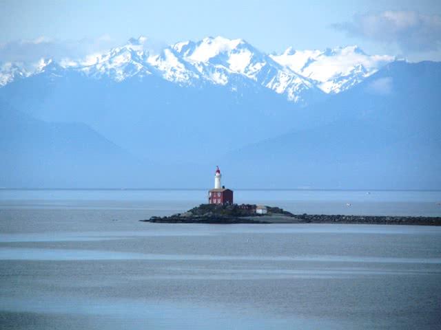 Fisgard Lighthouse Esquimalt Harbour Entrance & Olympic Mountains