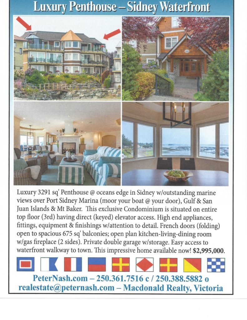 Pacific Yachting Magazine~Sidney Waterfront Condo