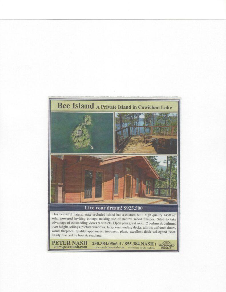 Western Investor Paper~Bee Island, Cowichan Lake