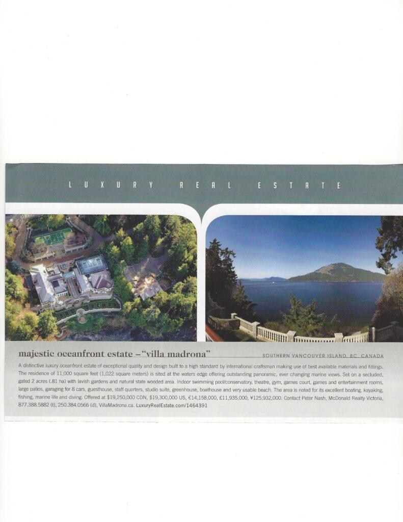 Villa Madrona Oceanfront Estate North Saanich, BC