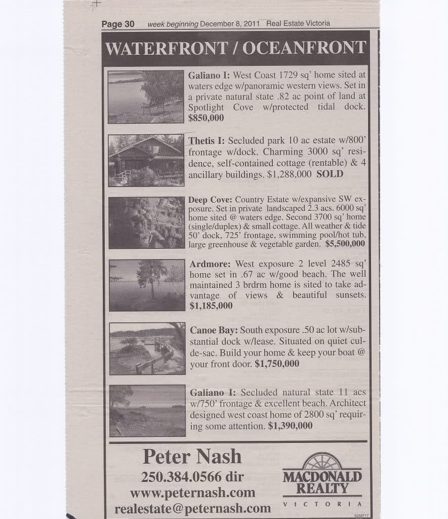 Waterfront Oceanfront Real Estate Vicroria Paper