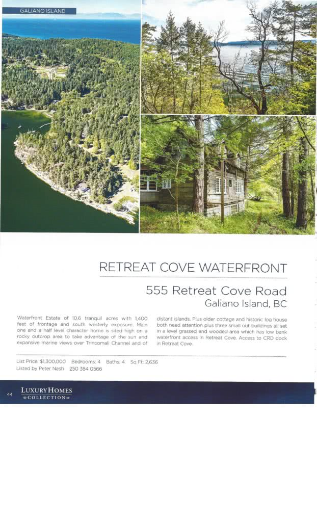 Macdonald Rlty Magazine 555 Retreat Cove, Galiano Island