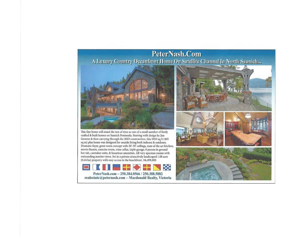 Pacific Yachting Magazine~Oceanfront 872 Lands End Rd, No. Saanich