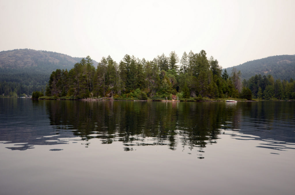 Approaching Tranquil Hunter Island-Shawnigan Lake B C